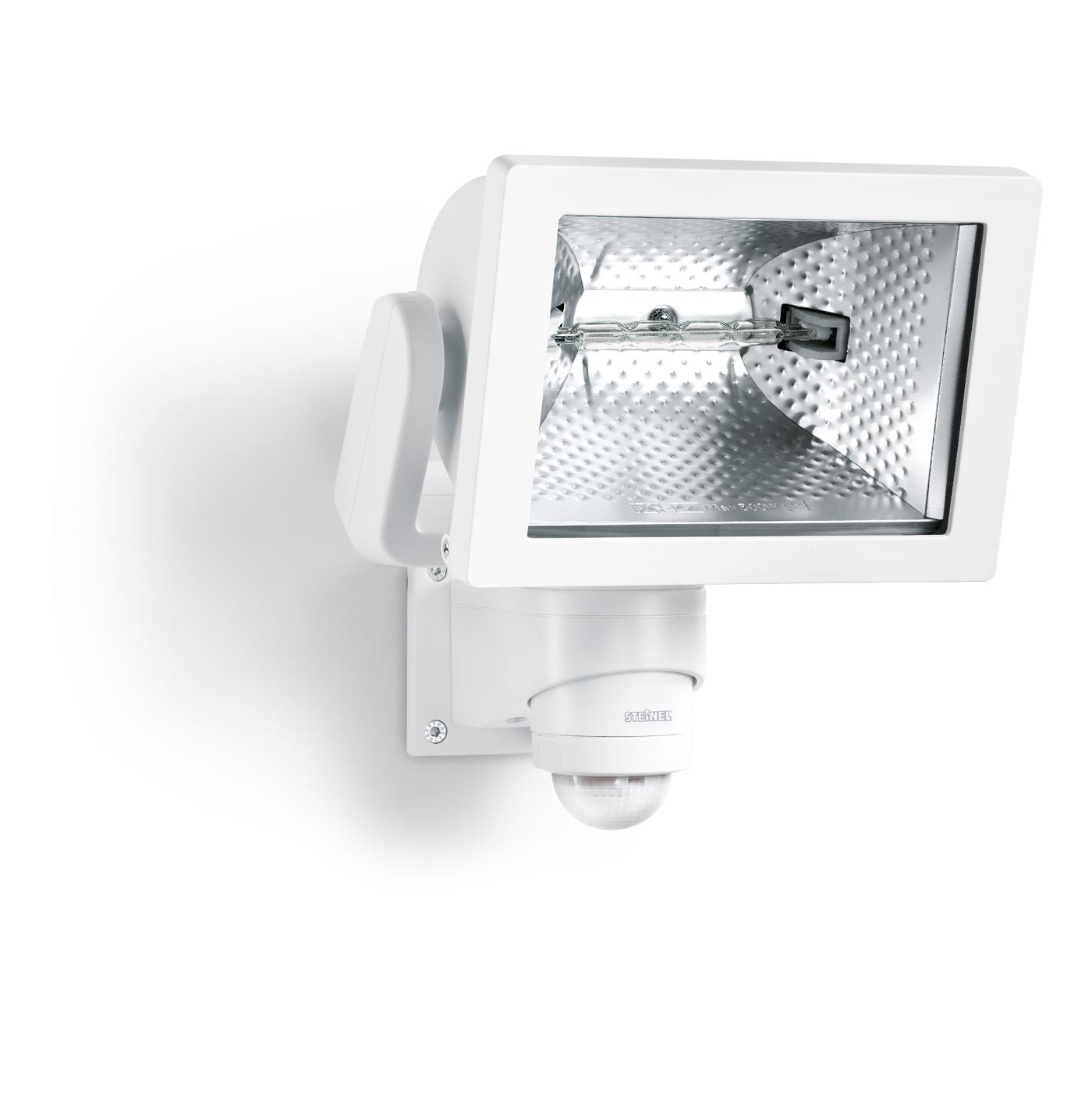 Steinel sensor halogenstrahler hs 500 duo wei 633516 for Hausfronten modern